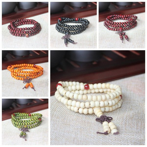 best selling Natural Sandalwood Buddhist Buddha Meditation 6mm 108 Beads Wood Prayer Bead Mala Bracelet With Bowknot Charm Stretchable Jewelry