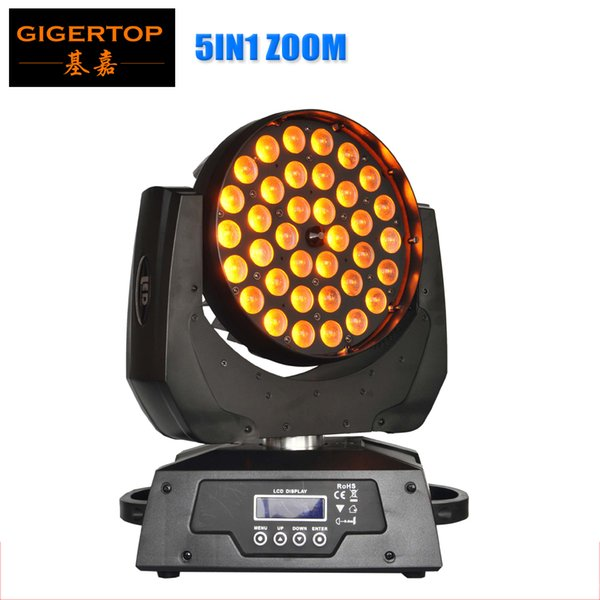 Freeshipping TP-L621A 36x15W RGBWA 5IN1 Tyanshine Led Moving Head Zoom Zoom 5 colori Led Washer Effect Silenzioso Smooth Zoom Dimmer Display LCD