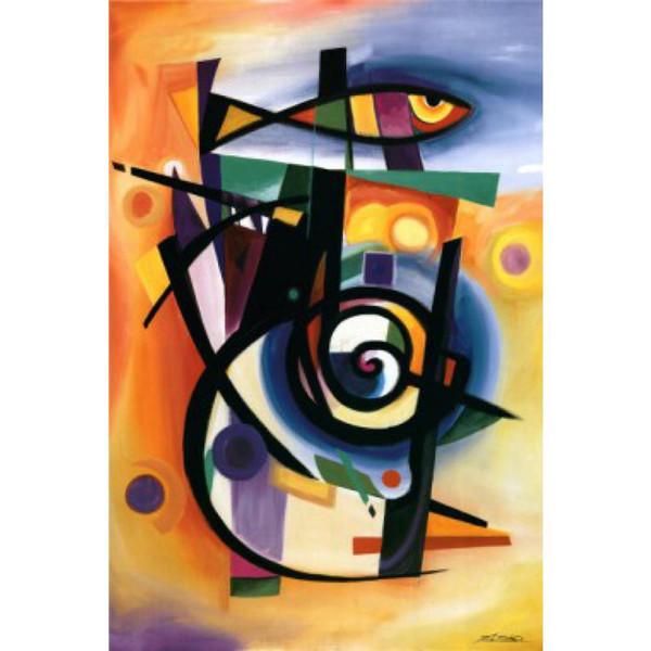 Peintures abstraites de haute qualité reproduction de peinture à l'huile Alfred Gockel STRIPED FISH peint à la main