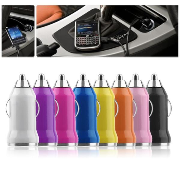 Evrensel Bullet 8 Renk mini usb araç şarj Samsung Galaxy S3 S4 için iPod iPhone 7 Artı 7 S 6 S 6 NOT 5 4 Cep Cep Telefonu Şarj Adaptörü