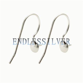best selling Fishhook Earring Settings Blank Base Simple Earwire 925 Sterling Silver Jewellery DIY Findings for Pearl Party