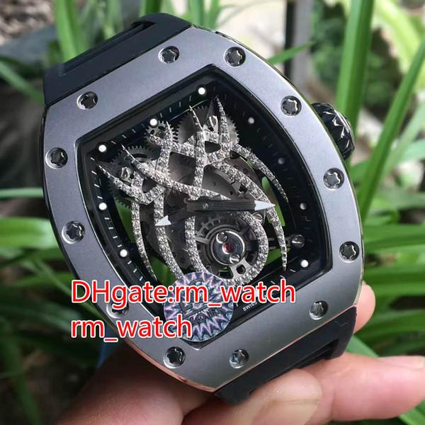 Automatic tonneau stainless steel case watch 19 01 pentagon screws spider face black rubber strap men's wristwatch high quality