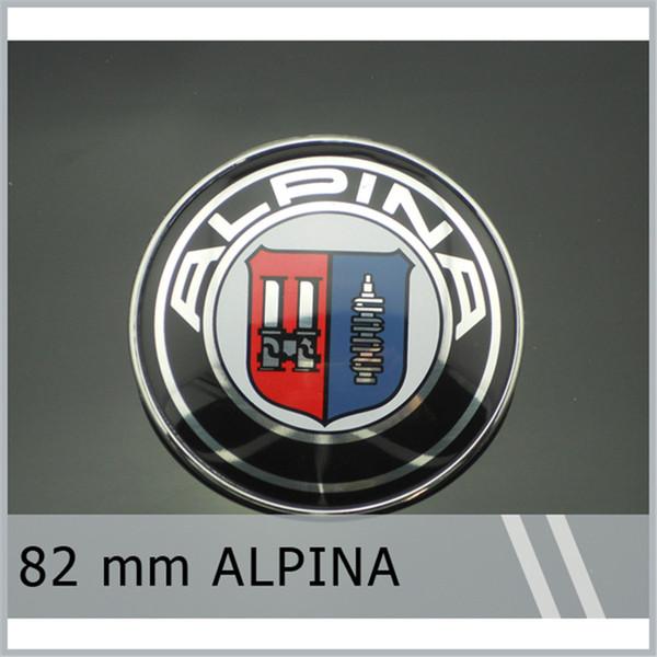 top popular 20Pcs Lot 82mm Emblem Badge for ALPINA Chrome Bonnet Hood for E9 E21 E28 E30 E46 E87 E90 Free Shipping 2021