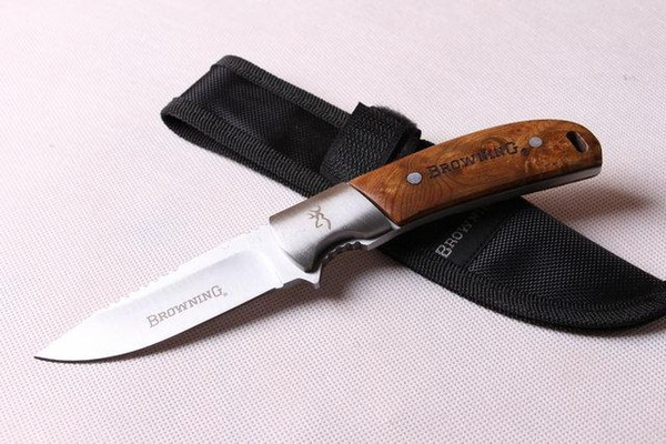 hot selling ! browning 338 knife Survival knife Straight knife fixed blade nylon bag and color box packaging Free shipping