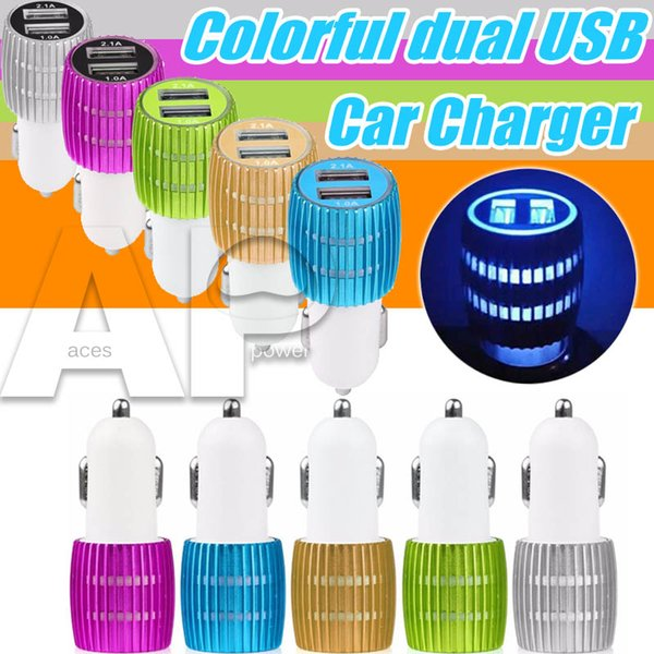 Aluminum Car Chargers Micro Auto Universal Dual 2 Port USB 1A For IPhone X IPad 2.1A 12V Mini Car Charger Adapteri