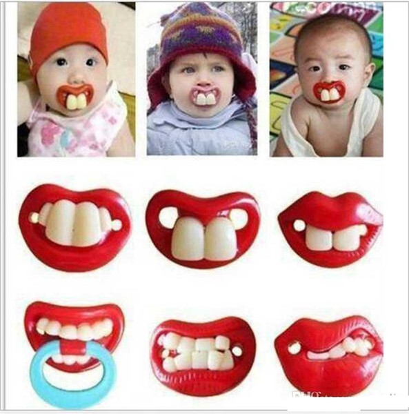 14 style Newborn baby funny Moustache tooth Pacifiers Silica gel infant Pacifiers kids nipple b1435