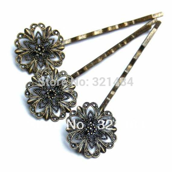 Antique brass/bronze 200pcs Hairgrip with 20mm filigree flower pad hair bobby pins clips hairpins jewelry findings accessories
