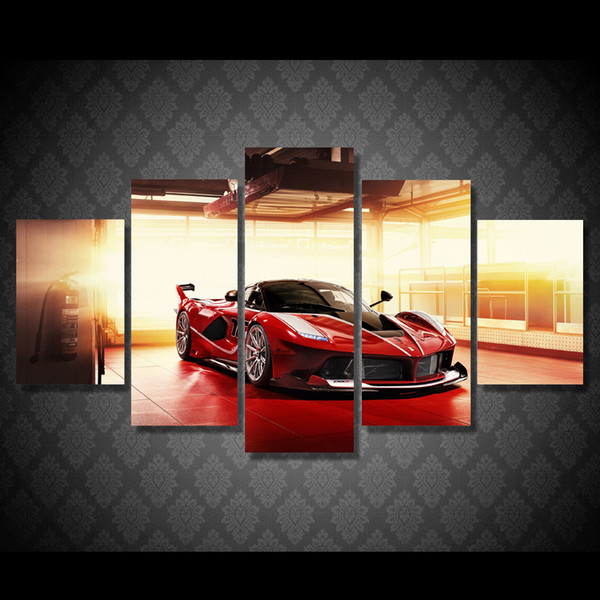 5 Pcs/Set Framed HD Printed Red Luxury Sports Car Picture Wall Art Canvas Print Decor Poster Canvas Modern Oil Painting