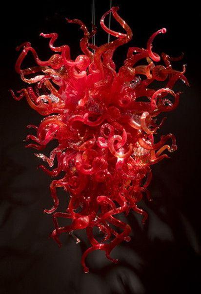 Lámpara contemporánea Lámpara colgante moderna Estilo de la lámpara Forma larga Color rojo Moderno Vidrio soplado a mano Lámpara de luz led