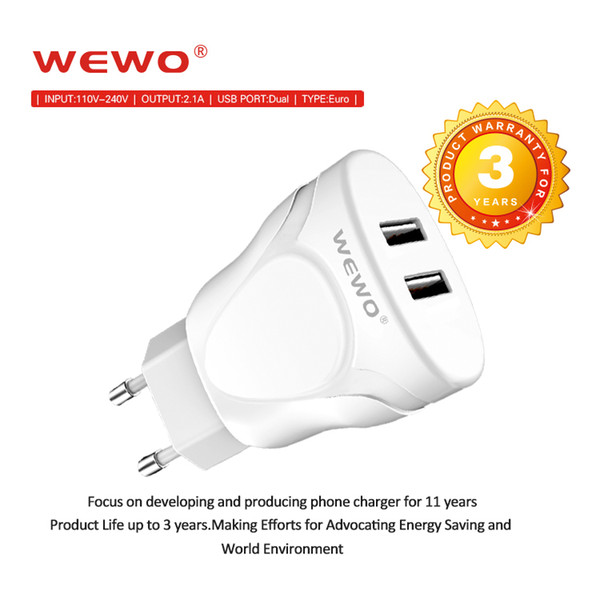 WEWO 2.1A Wall Charger Plug EU Dual USB AC Adapter CellPhone Chargers for iPhone Samsung Xiaomi Tablet