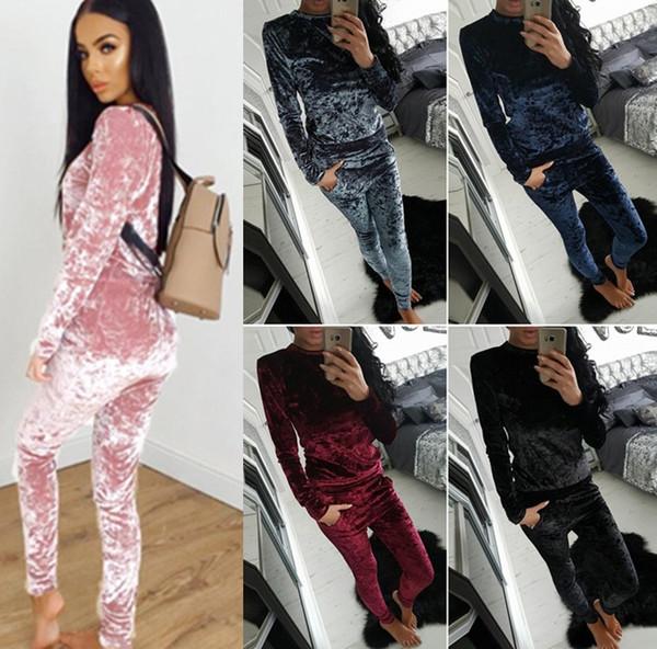 2017 New Fashion 2PCS Women Crushed Velvet Tracksuit Casual Hoodies Sweatshirt Pants Sets Sport Suits Casual women's cotton suits