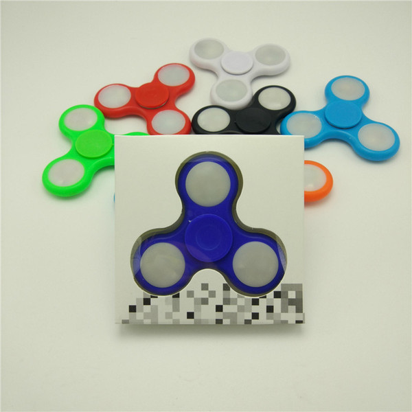 Top Quality LED Fidget Spinner LED Fidget Tri Spinners Toys 8 colors Luminous Light Hand Spinnerhu with Switch ON OFF by DHL