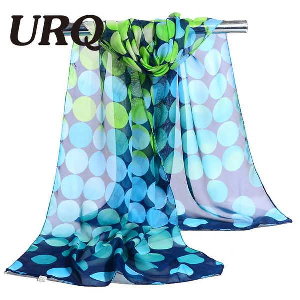 Wholesale- chiffon scarf print big dot women's scarf muslim lady brand design spring and autumn patterns cape shawl wrap 2017