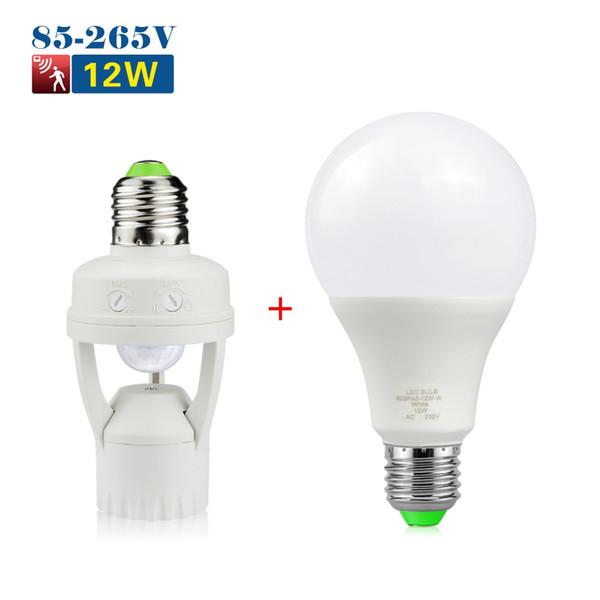 7443 Socket G4 Motion Sensor Bulb Stair LED Base Light Led Light Holder Switch E27 For PIR Bulb 12W Lamp Infrared Plug E27 LED Hallway Led Bulbs Base wkn80OPX