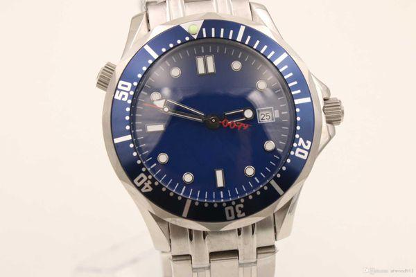 Venta caliente clásico nuevo reloj hombres stainess acero planeta océano james bond 007 movimiento automático dial azul relojes hombres vestido relojes