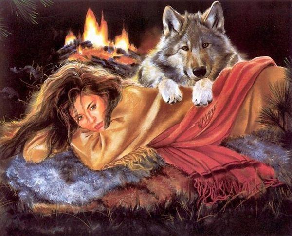 Nueva DIY Mosaico Diamante Pintura punto de Cruz kits de dibujos animados niña lobo completo Resina cuadrada Bordado de Diamantes costura Decoración para el hogar zf0045