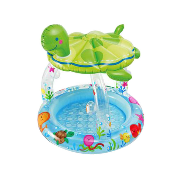 Turtle Inflatable Swimming Pool Round Sunshade Paddling Pool Baby Bathtub Sea Pool for Summer Outdoor Play
