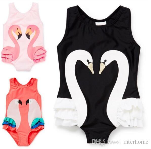 best selling INS Swimwear Flamingo Swan Bikini Girls One-Pieces Swimsuit Cartoon Bathing Suit Kids Lovely Parrot Flamingo Ruffled Kids Baby Clothing H73
