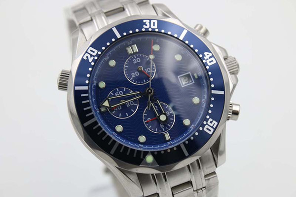 Luxury Brand Top Quality Quartz watch Men 4omm Blue Dial Stainless Band Mechanical watch Monor Hemmo