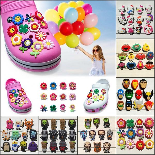 11-12Pcs/Lot Flowers Kitty PVC Cartoon Shoe Charms Ornaments Buckles Fit for Shoes & Bracelets ,Charm Decoration,Shoe Accessories Party Gift