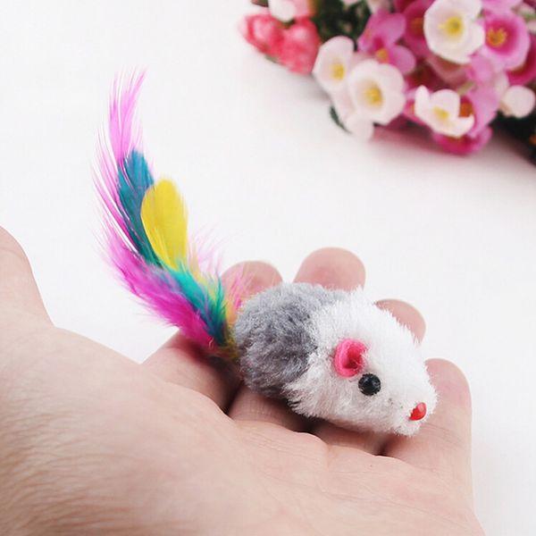 Nuevo 5 unids / lote Funny False Mouse Rat Juguetes para Cat Kitten Colorful Plush Mini Mouse Juguetes Mascotas Gato Jugar Juguete