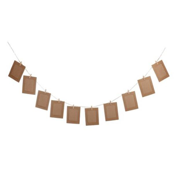 10pcs DIY 6inch Hanging Album Clip Kraft Paper Photo Frame Strings Rope Clips Sets for Wedding Decoration Garland