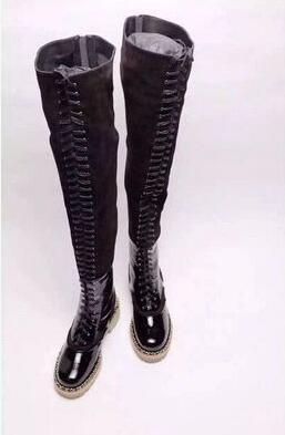 2017 High quality women thigh high gladiator boots England style lace up booties over knee high tall boots flat heel patchwork bota