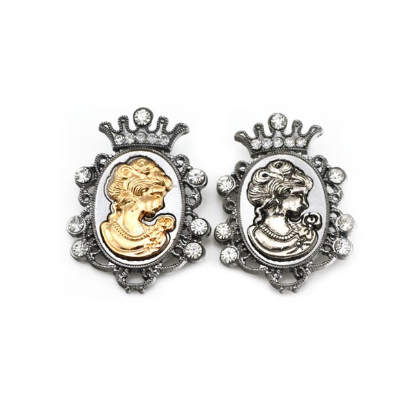 Men Jewelr Vintage Victoria Brooch Pin Rhinestone Crown Queen Head Portrait Brooches Corsage for Women Jewelry Lot 12 Pcs
