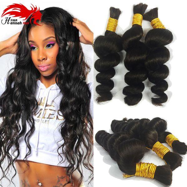 best selling Premium No Attachement Bulk Hair 3 bundles 150gram Cheap Loose curly No Weft Virgin remy Human Remy Hair Braiding Wholesale