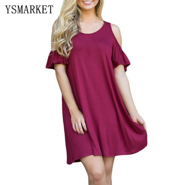 2017 Elegant Solid Wine Red Sexy Party Mini Dress For Women A Line Cold  Shoulder Silky