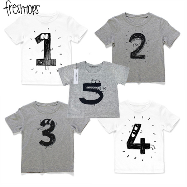 INS Baby Girls Boys T Shirts Children Birthday Number Cotton Cartoon Tees For Kids