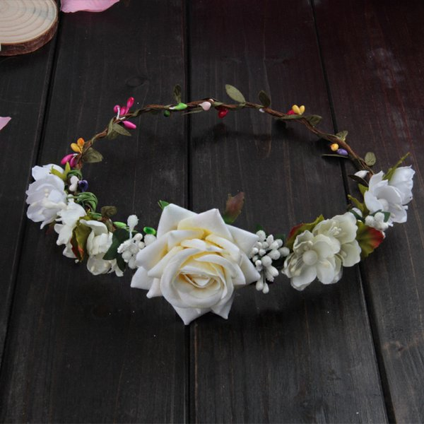bohemian terylene flower headband garland crown festival wedding bride bridesmaid hair wreath BOHO floral headpiece holiday beach crown