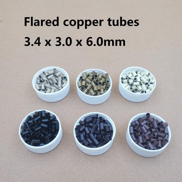 Atacado-1000pcs 3.4 * 3.0 * 6mm 3.5mm flare Euro Lock tubos de cobre Micro Anéis links beads para vara eu ponta extensões de cabelo 3 # marrom escuro