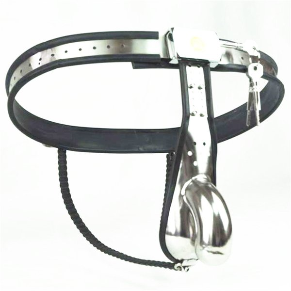 Stainless Steel Male Chastity Device,Male Chastity Belt,Penis Sleeve Ring,Strap Pants,Chastity Cage,Sex Toy for Men G7-4-5