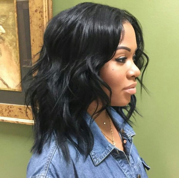 Short Bob Wig for Black Women 100% Cambodian Human Hair Wavy Lace Font Wig Glueless Full Lace Wig FDSHINE