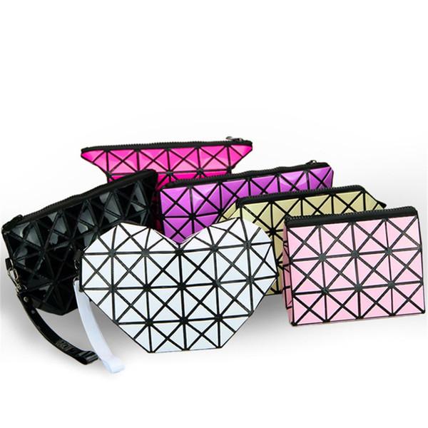 Wholesale- 10 styles Folding Makeup Bags Fashion Diamond Geometry PU Leather Women Girl Comestic Zipper Bag Worldwide sale