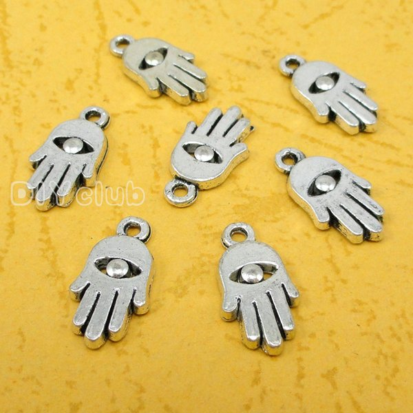 150pcs-Antique Silver Bronze 2 Sided Hamsa Hand With Star of David Hand Made Charms Pendant Lovely Connector DIY Jewelry Making