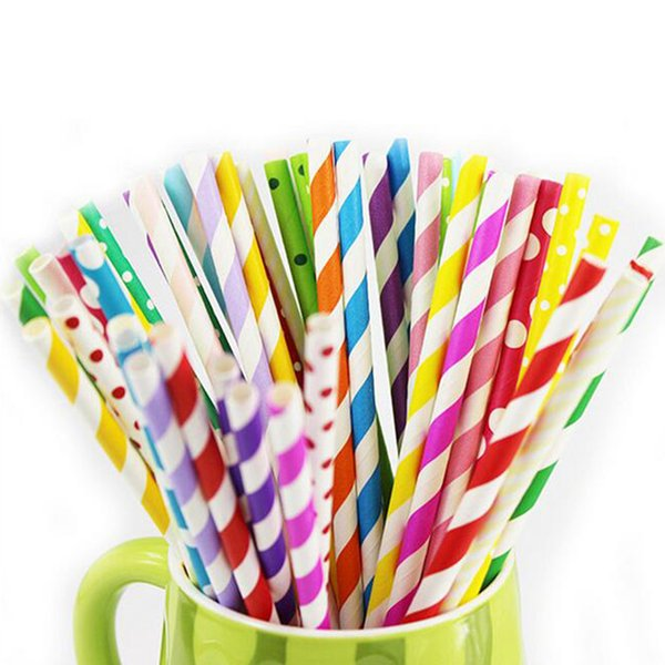 Wholesale-Hot Sale Mix 25 Colors Paper Straws Paper Drinking Straws For Kids Birthday Party Wedding Juice Bar Tool Decorations