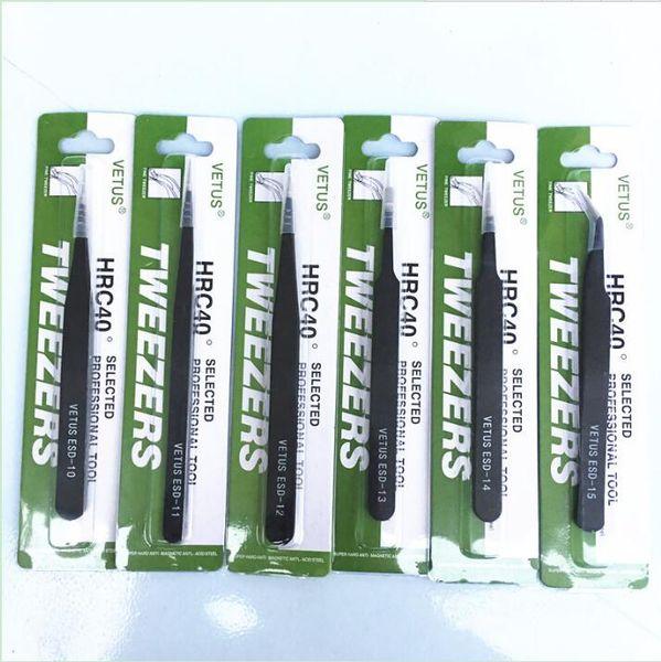 Black VETUS Tweezers HRC40 Antistatic Stainless Steel Nipper ESD 10 11 12 13 14 15 for Phone Repair Repairment Mend Tools