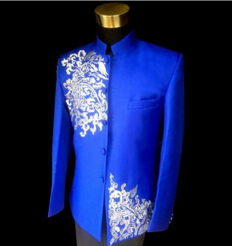 Formal dress latest coat pant designs suit men embroidery cloud terno masculino marriage wedding chinese tunic suits for men's
