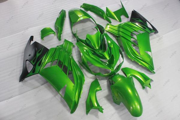 Carenados de plástico Zx14 Zx-14r 12 13 Kits de cuerpo completo ZZ-R1400 2012 Kits de cuerpo verde negro ZZR 1400 2015 2012 - 2015