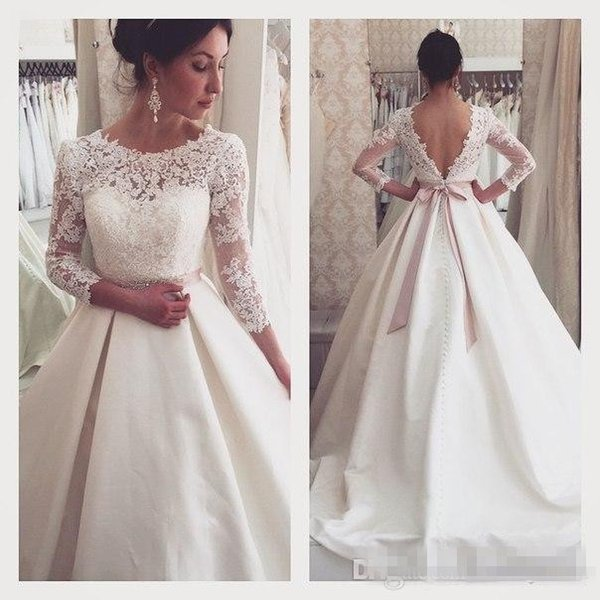 Vintage Lace Eleagnt Wedding Dresses 3/ 4 Long Sleeve Sheer Illusion Cheap Satin Covered Button Plus Size Bridal With Belts Country Style