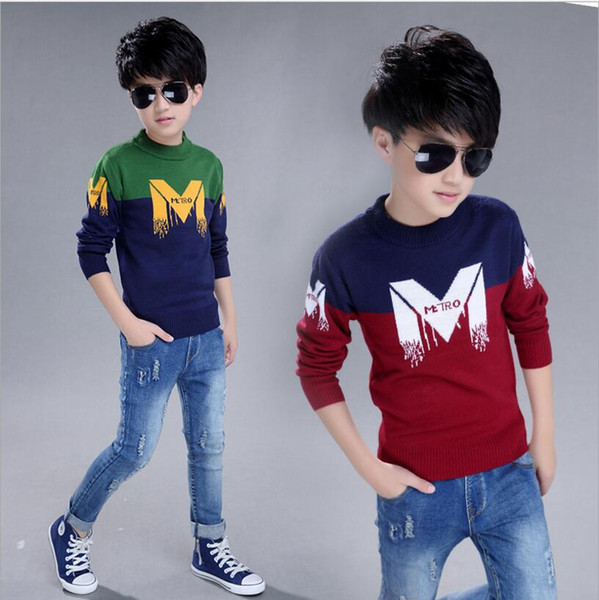 2017 Autumn Winter England Style New Kids boy Sweater Coat Children Clothing Baby letter M jacquard Cotton Boys Pullover 5-10Y