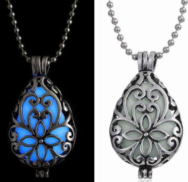 Envío libre de la venta caliente nuevo estilo Collares pendientes ahueca hacia fuera gota de agua colgante luminoso collar de la joyería huihui2014
