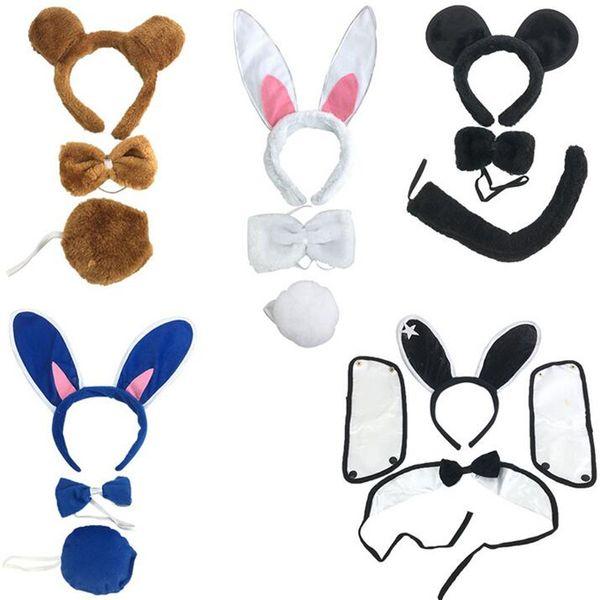 Kids Tiger Cat Devil Rabbit Ear Headband Head Bow Tie Tail Set Animal Cosplay Accessories Halloween Party Dress Decor