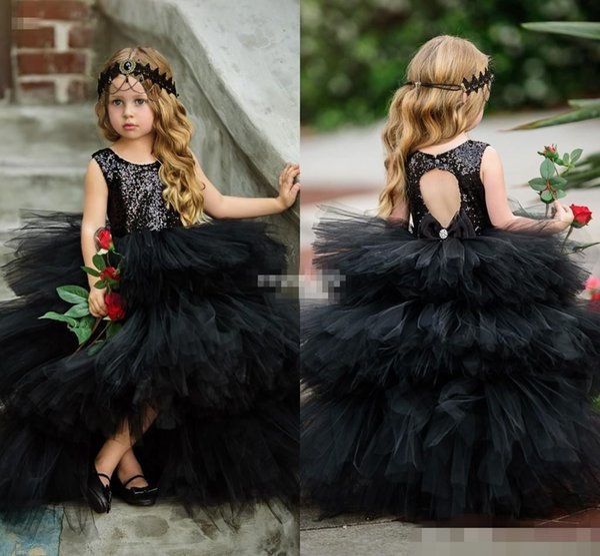 Compre Vestidos De Gala Negros Vestidos Para Niñas De Flores Puffy Tul Lentejuelas Brillantes Perlas Arco Abierto Atrás 2019 Vestidos De Desfile De