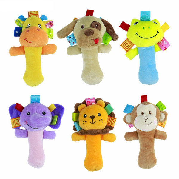 Wholesale- Infant Animal Hand Bell Toys Baby Rattles plush toy children educational mobiles bed hand bell 6 styles LYJ93