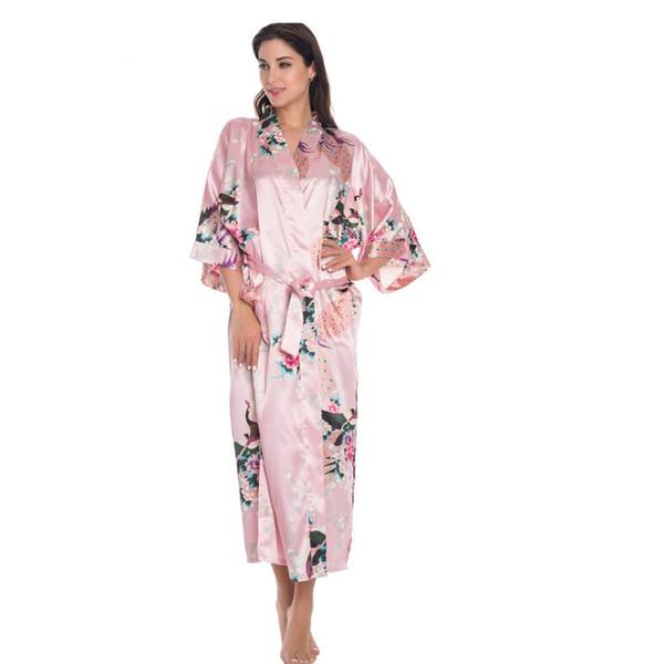 Gros-Plus Taille XXXL Japonais Femme Kimono Yukata Robe Longue De Soie Rayonne Robe De Mariage Lingerie Robe De Nuit Imprimé Mujer Pijama