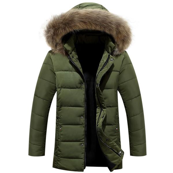 Wholesale- Men Winter Jacket New Men Warm Parka Thick Long Casual Jackets Men Down Outwear Comfortable Cotton Hooded Parka Plus Size M-4XL