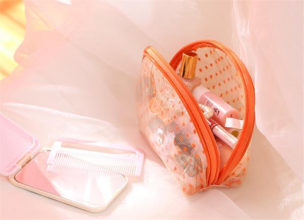 Wholesale- 2016 New Hot Sale Transparent Three Layers waterproof PVC Dot Shell Type Bag Women Cosmetics Bags HBG32